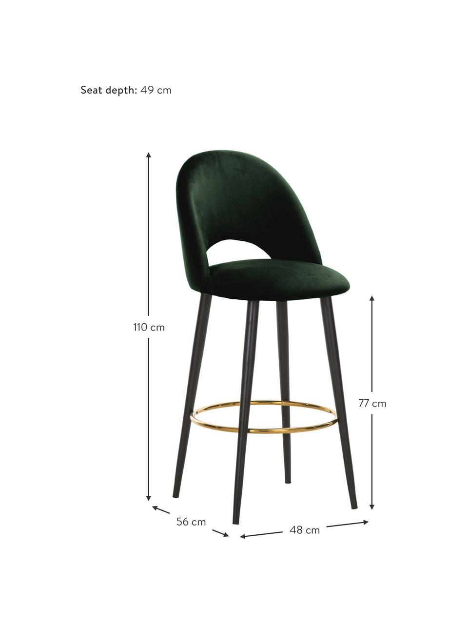Krzesło barowe z aksamitu Rachel, Tapicerka: aksamit (wysokiej jakości, Nogi: metal malowany proszkowo, Aksamitny ciemny zielony, S 48 x W 110 cm