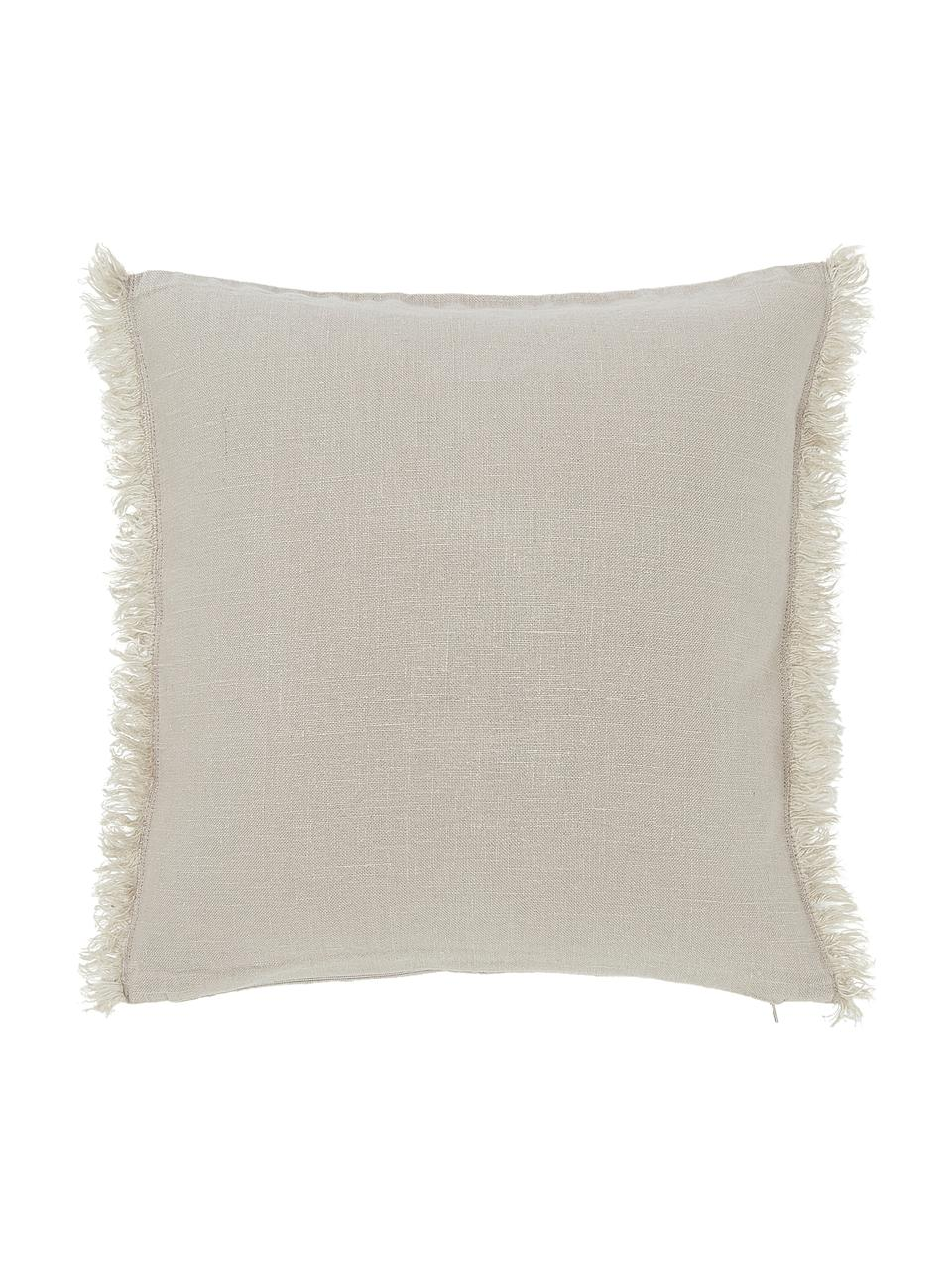 Linnen kussenhoes Luana in beige met franjes, 100% linnen, Beige, 60 x 60 cm