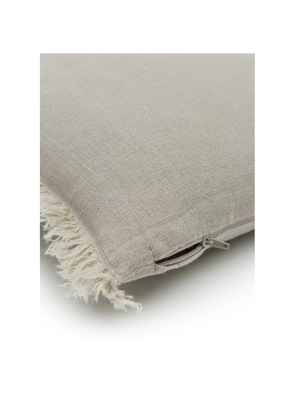 Poszewka na poduszkę z lnu z frędzlami Luana, 100% len, Beżowy, S 60 x D 60 cm
