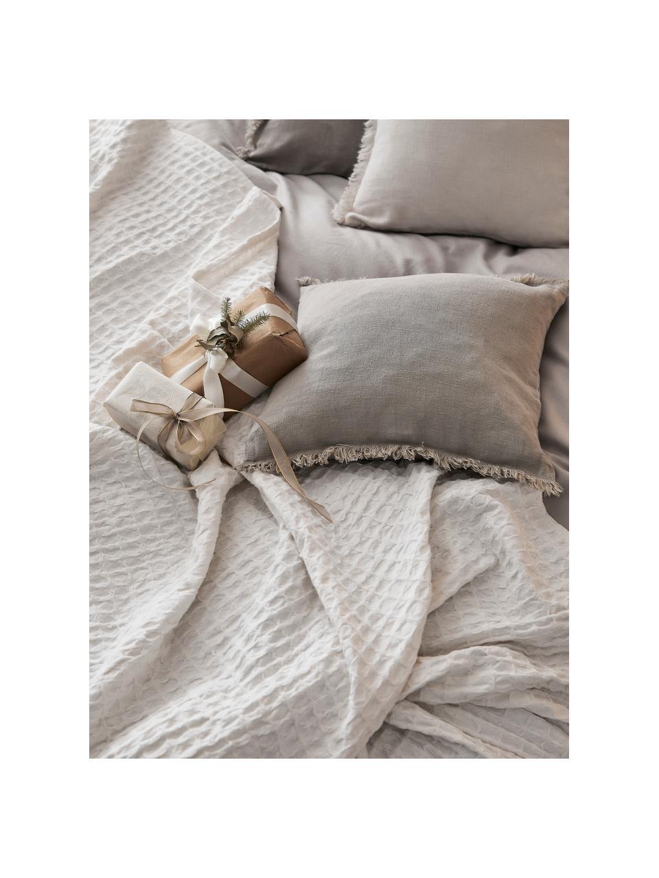 Leinen-Kissenhülle Luana in Beige mit Fransen, 100% Leinen, Beige, 60 x 60 cm