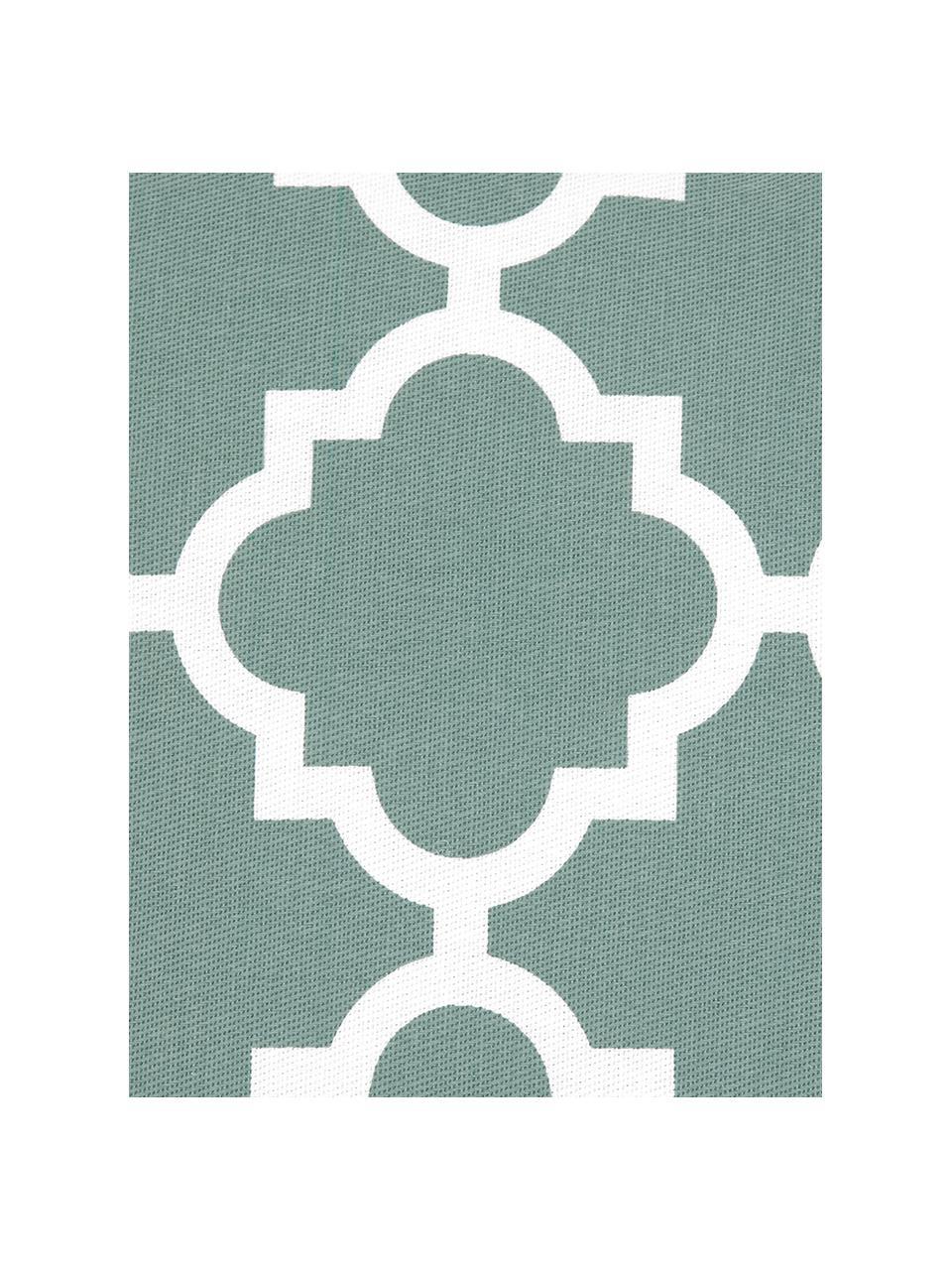 Kissenhülle Lana in Salbeigrün mit grafischem Muster, 100% Baumwolle, Salbeigrün, Weiß, 45 x 45 cm