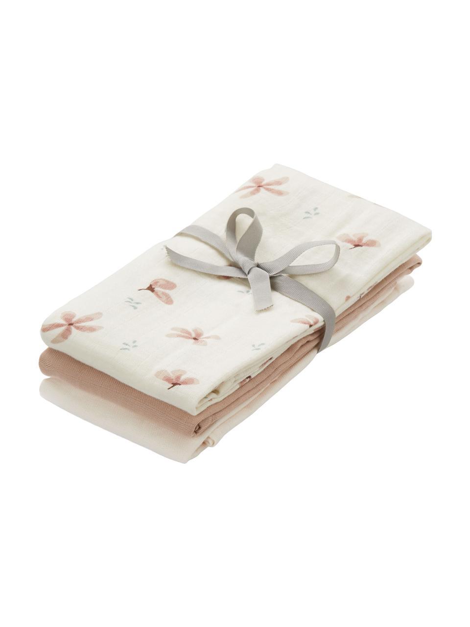 Set 3 copertine in cotone organico Wildflower, 100% cotone organico, Crema, tonalità rosa, Larg. 70 x Lung. 70 cm