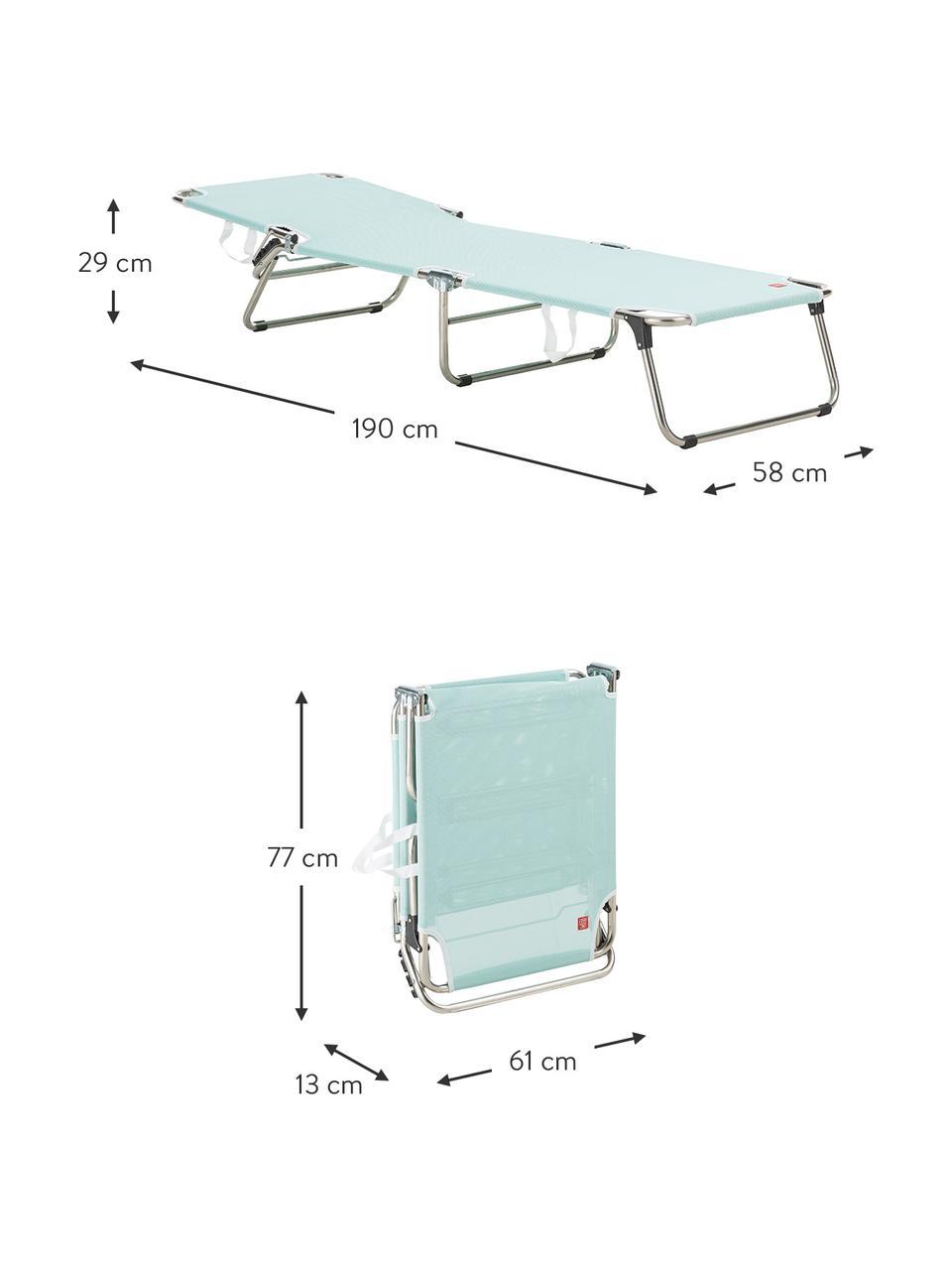Gartenliege Fiam Amigo ohne Armlehne, Gestell: Aluminium, Bezug: Polyester, Gestell: Aluminium Bezug: Aquablau, 58 x 190 cm