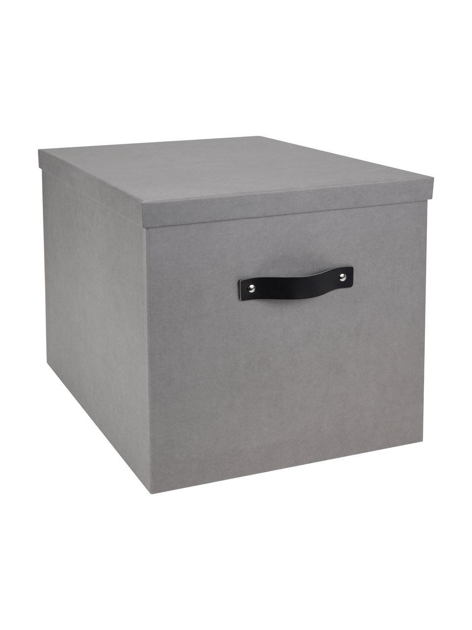 Aufbewahrungsbox Texas, Box: Fester, laminierter Karto, Griff: Leder, Hellgrau, 32 x 32 cm
