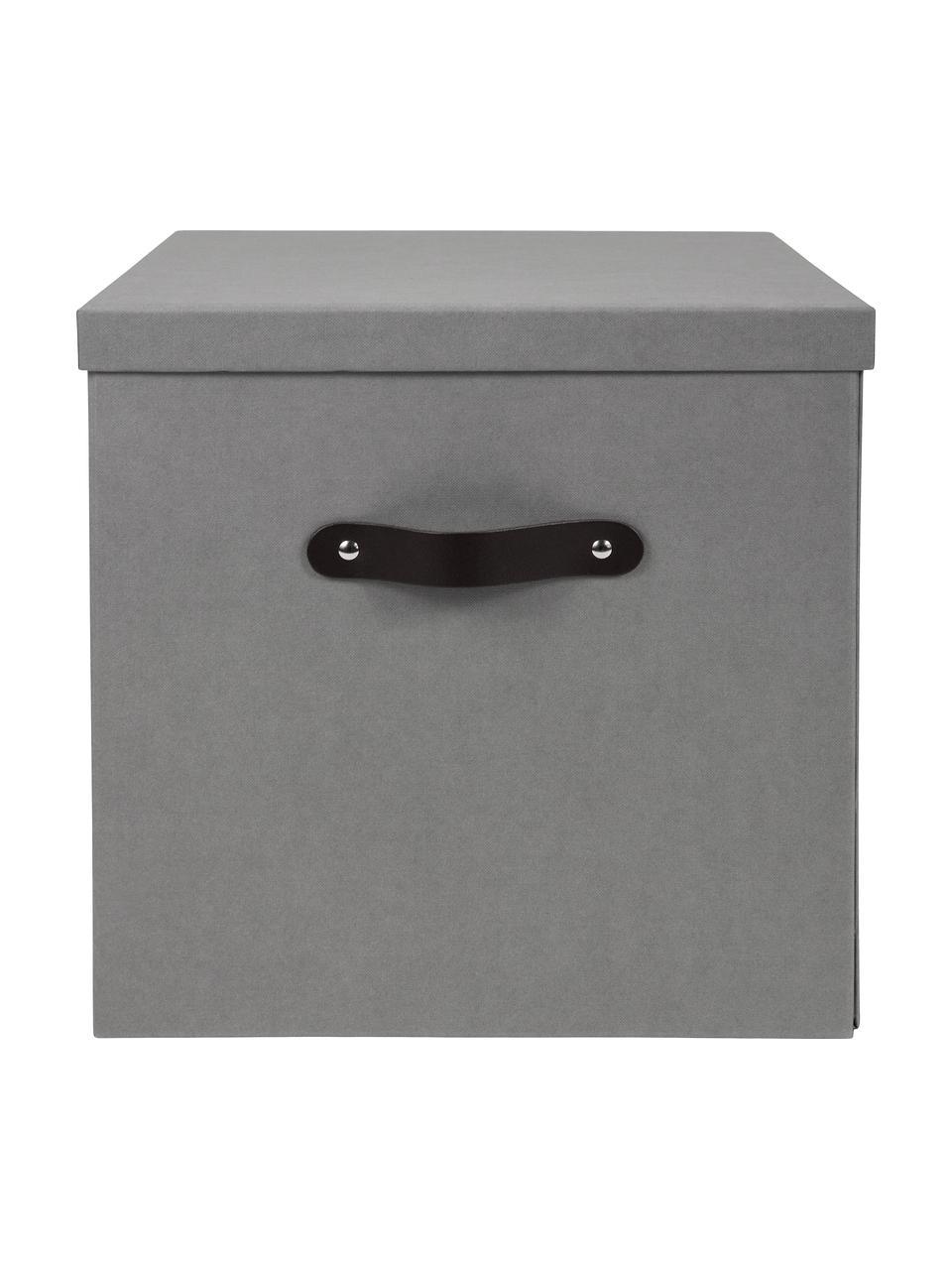 Scatola con coperchio Texas, Scatola: solido, cartone laminato, Manico: pelle, Grigio chiaro, Larg. 32 x Alt. 32 cm