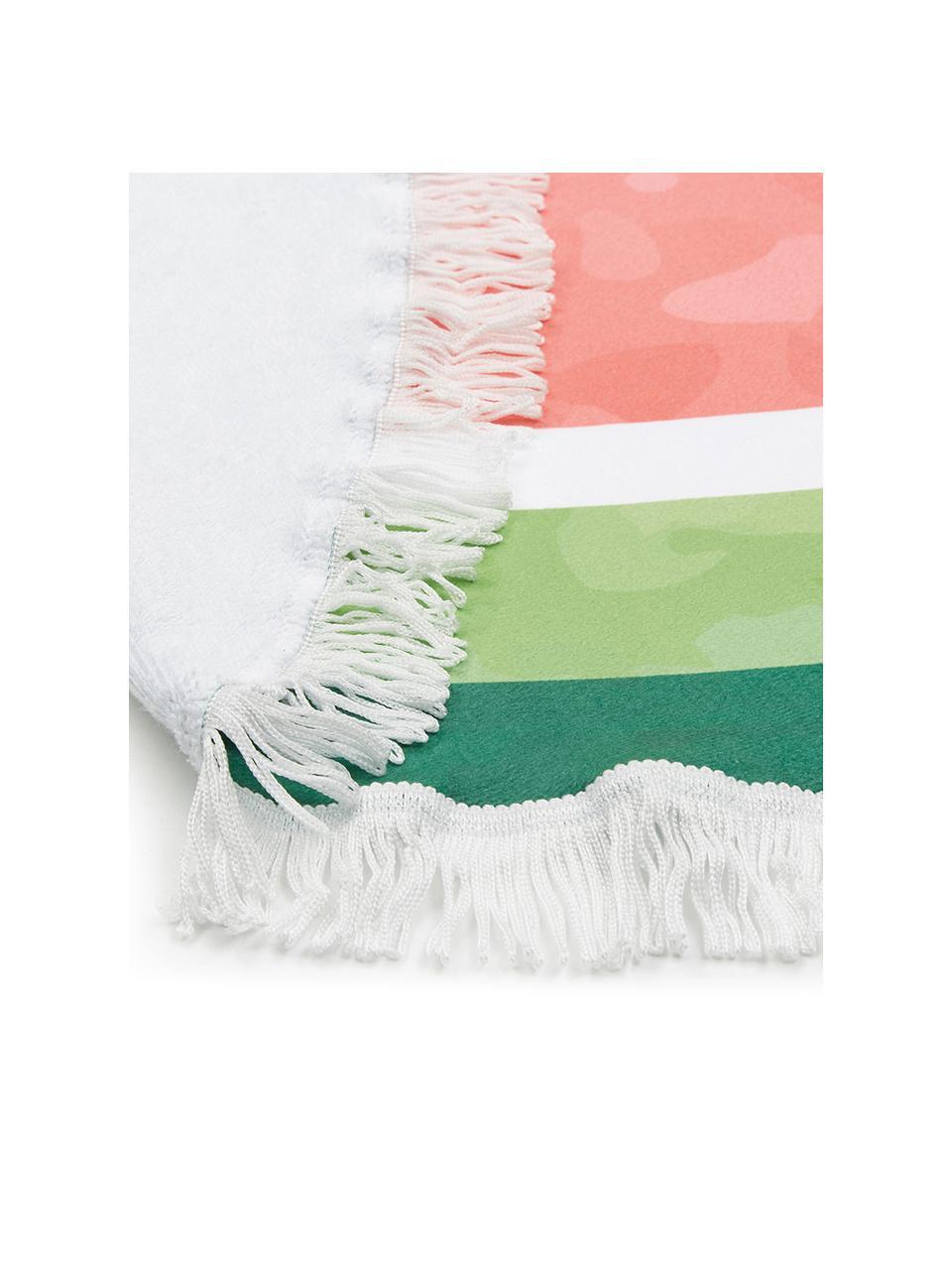 Telo mare rotondo Melon, 55% poliestere, 45% cotone Qualità molto leggera 340 g/m², Verde scuro, verde chiaro, rosso, Ø 150 cm