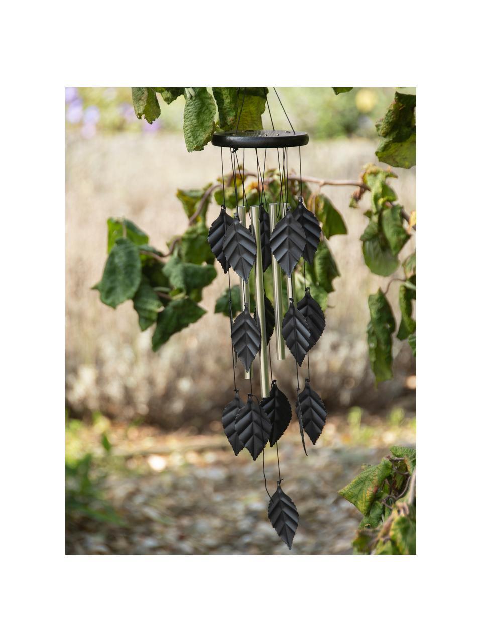 Campanellini a vento Leaves, Alluminio, metallo, legno, Nero, Ø 11 x Alt. 65 cm