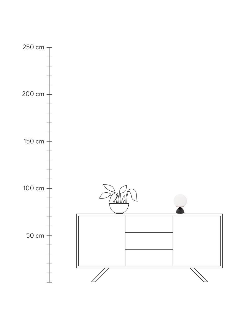 Lampada da tavolo con base in marmo Shining Pearl, Paralume: vetro opale, Base della lampada: marmo, Nero, bianco, Ø 15 x Alt. 21 cm