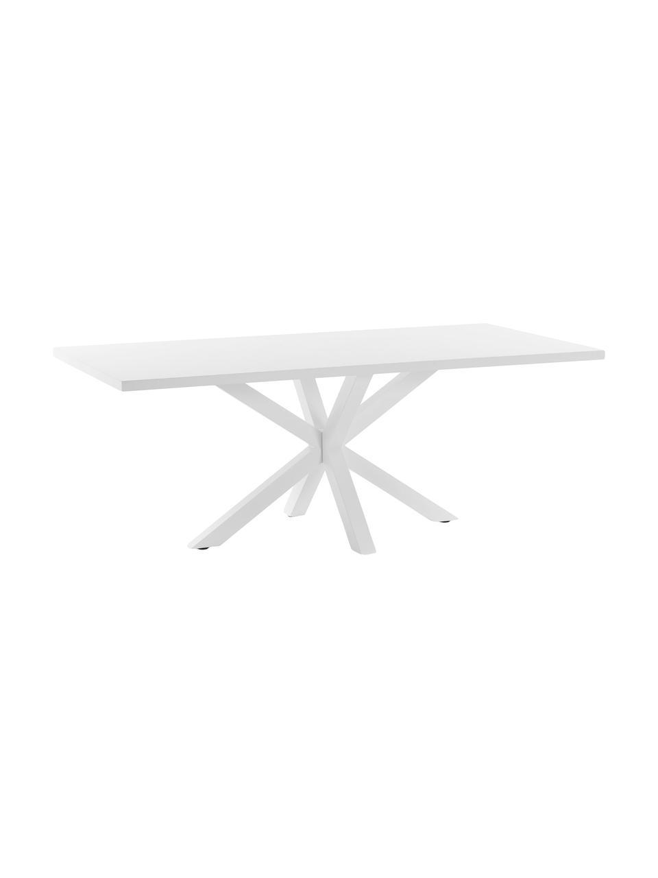 Tavolo bianco New-Arya, 160 x 100 cm, Legno, metallo, Bianco, Larg. 160 x Prof. 100 cm