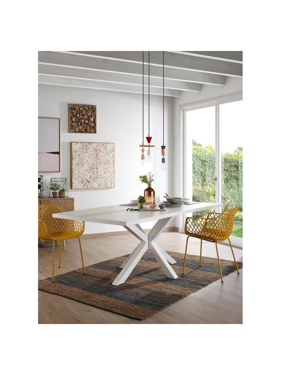 Eettafel New-Arya in wit, Hout, metaal, Wit, B 160 x D 100 cm