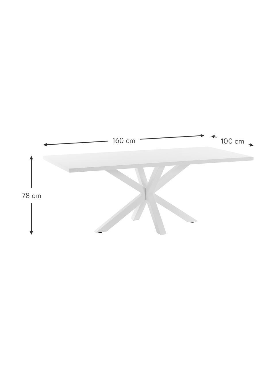 Tavolo bianco New-Arya, Legno, metallo, Bianco, Larg. 160 x Prof. 100 cm
