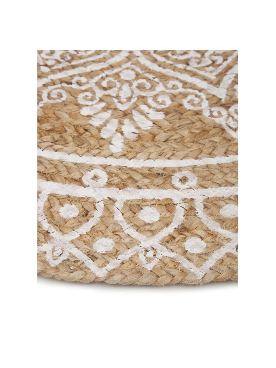 Runder Jute-Teppich Dahlia, handgefertigt, 100% Jute, Beige, Weiß, Ø 200 cm (Größe L)