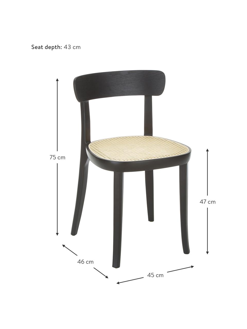 Houten stoelen Richie met Weens vlechtwerk, 2 stuks, Zitvlak: rotan, Frame: massief essenhout, Zwart, 45 x 75 cm