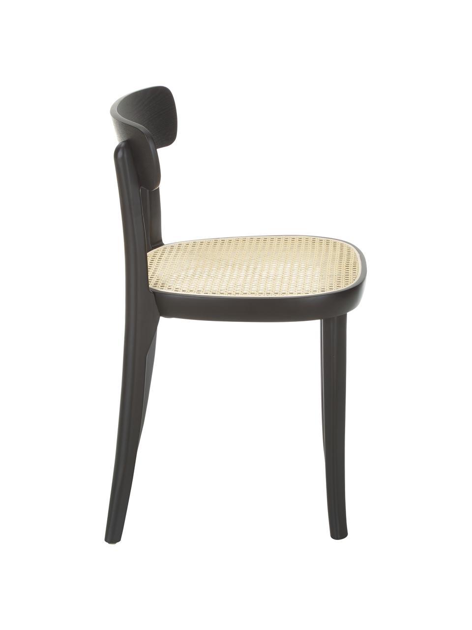 Sedia in legno con intreccio viennese Richie 2 pz, Seduta: rattan, Struttura: legno di frassino massicc, Nero, Larg. 45 x Alt. 75 cm