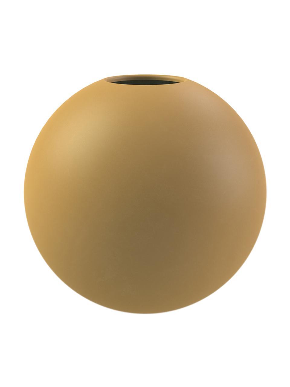 Vaso a sfera fatto a mano Ball, Ceramica, Giallo ocra, Ø 10 x Alt. 10 cm