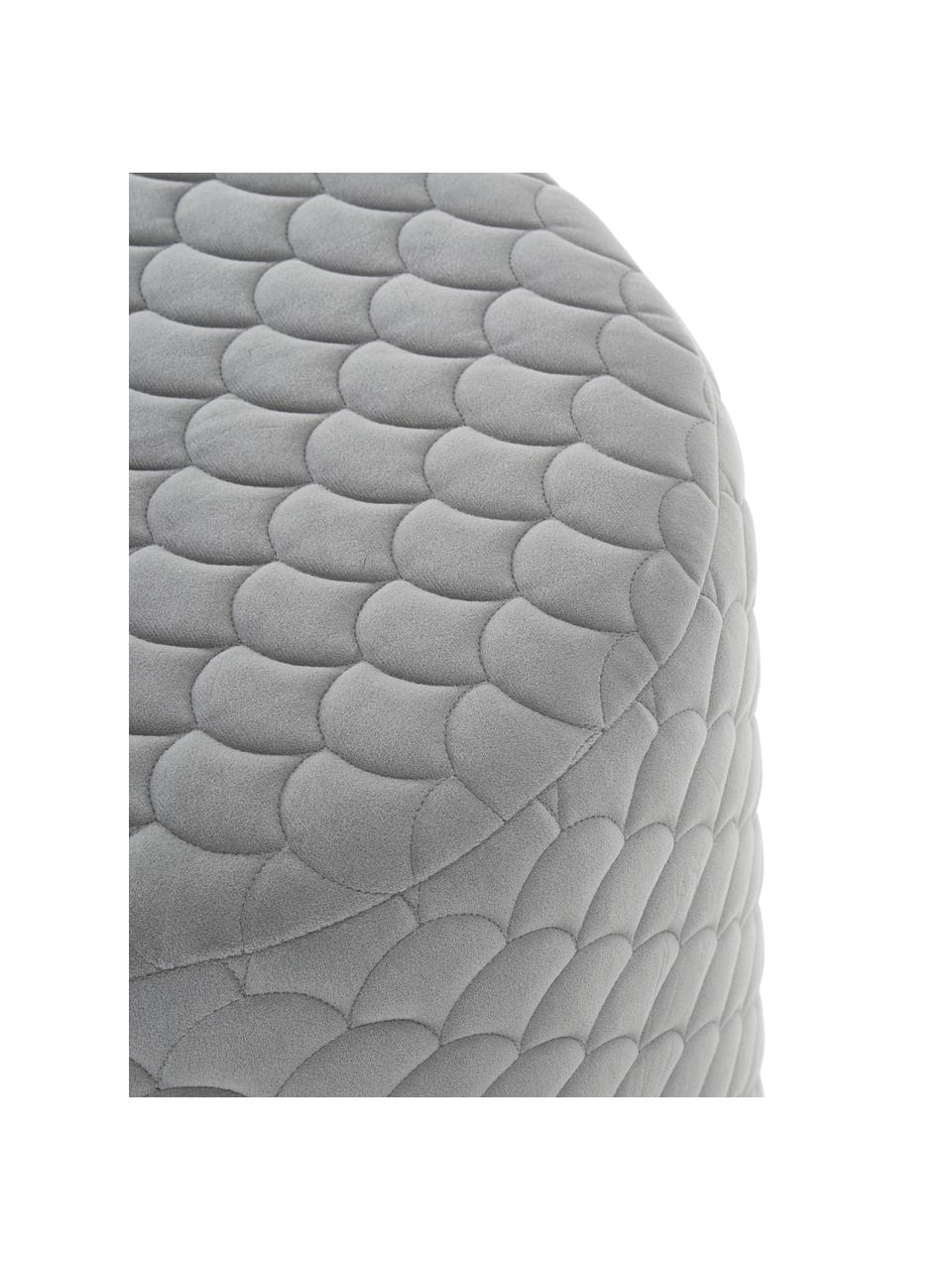 Fluwelen poef Daisy in grijs, Bekleding: fluweel (polyester) 84.00, Frame: multiplex, Fluweel grijs, Ø 38 x H 45 cm