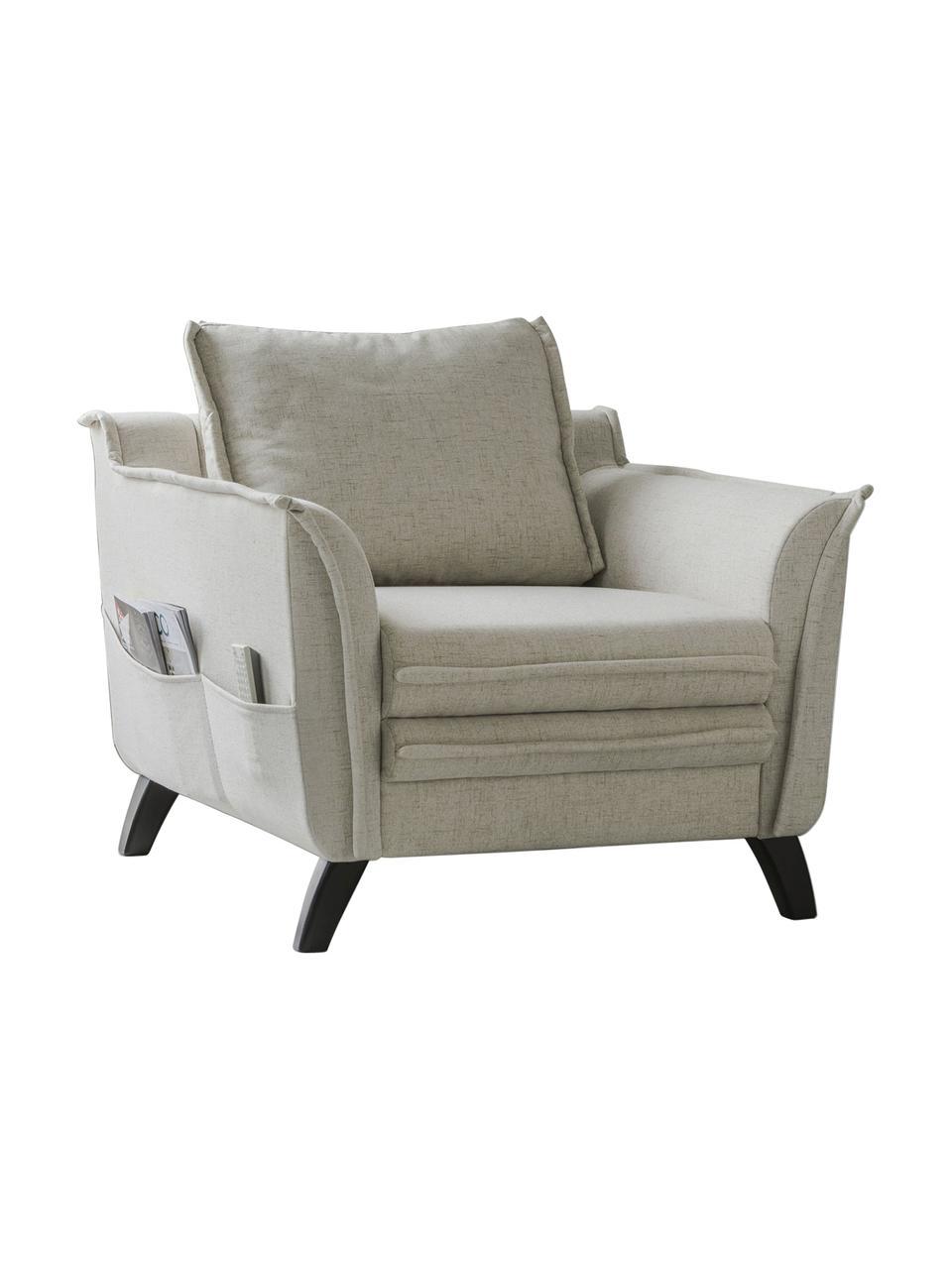 Fotel z imitacją lnu Charming Charlie, Tapicerka: 100% poliester, w dotyku , Stelaż: drewno naturalne, płyta w, Beżowy, S 85 x G 85 cm