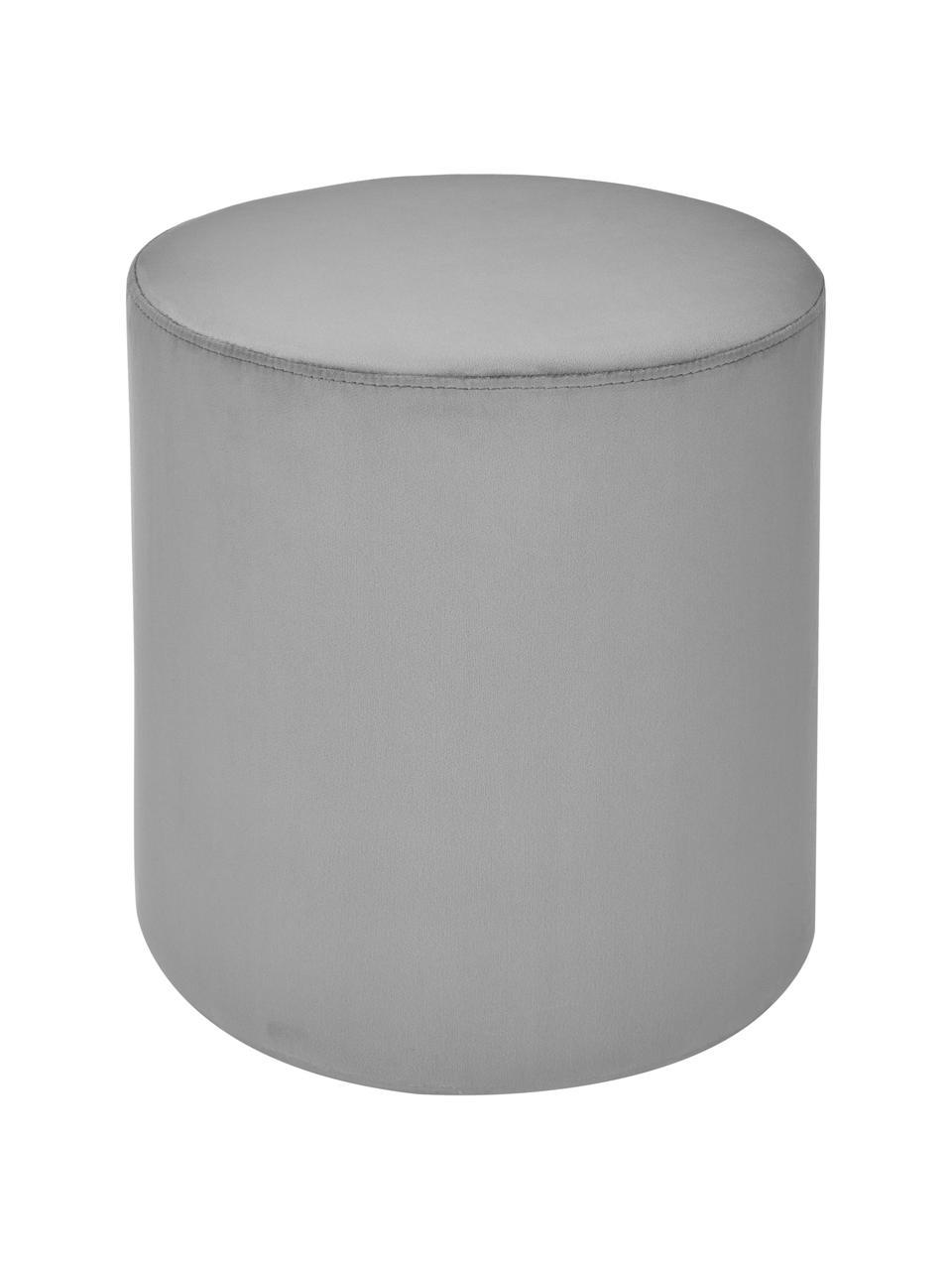 Fluwelen poef Daisy in grijs, Bekleding: fluweel (polyester), Frame: multiplex, Fluweel grijs, Ø 38 x H 45 cm