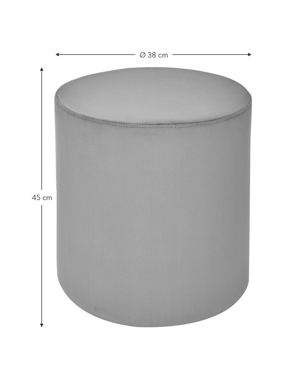 Samt-Hocker Daisy in Grau, Bezug: Samt (Polyester) Der hoch, Rahmen: Sperrholz, Samt Grau, Ø 38 x H 45 cm