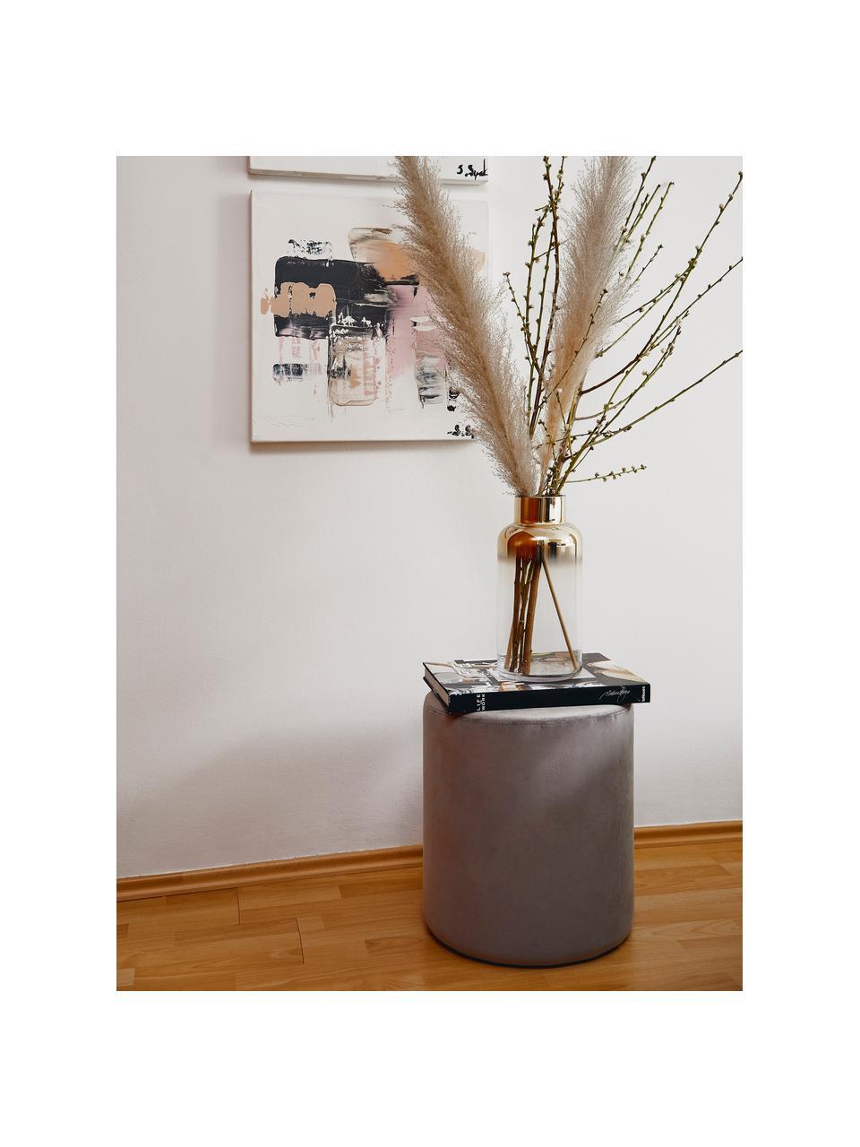 Puf z aksamitu Daisy, Tapicerka: aksamit (poliester) Dzięk, Aksamitny szary, Ø 38 x W 45 cm