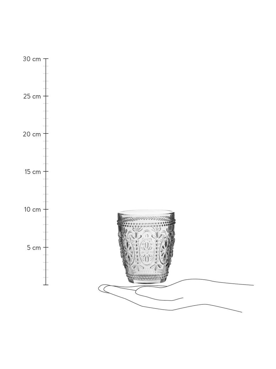 Vasos con relieves Chambord, 6uds., Vidrio, Transparente, Ø 8 x Al 10 cm