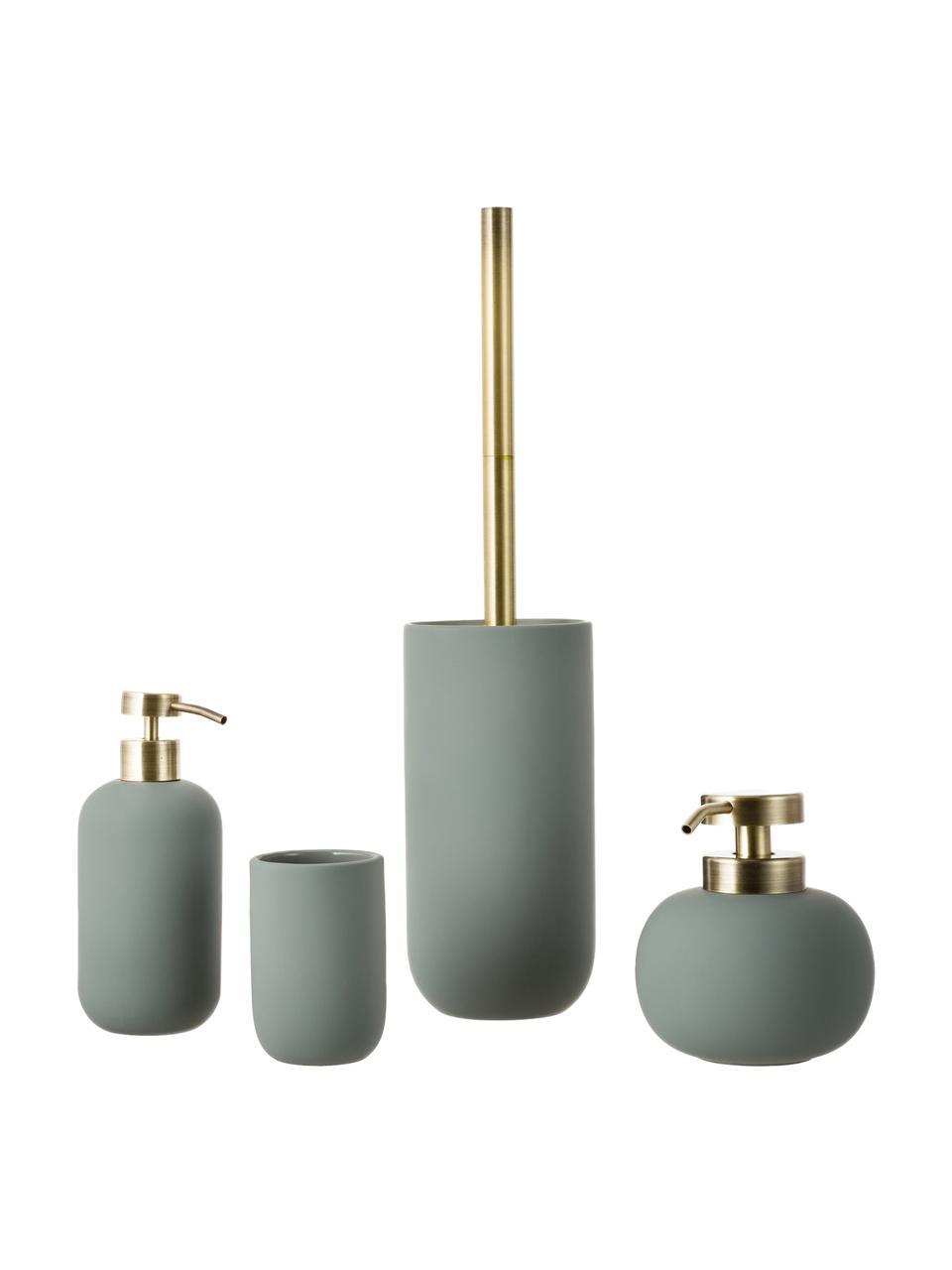 Zeepdispenser Lotus, Houder: keramiek, Pompje: metaal, Groen, messingkleurig, Ø 8 x H 18 cm