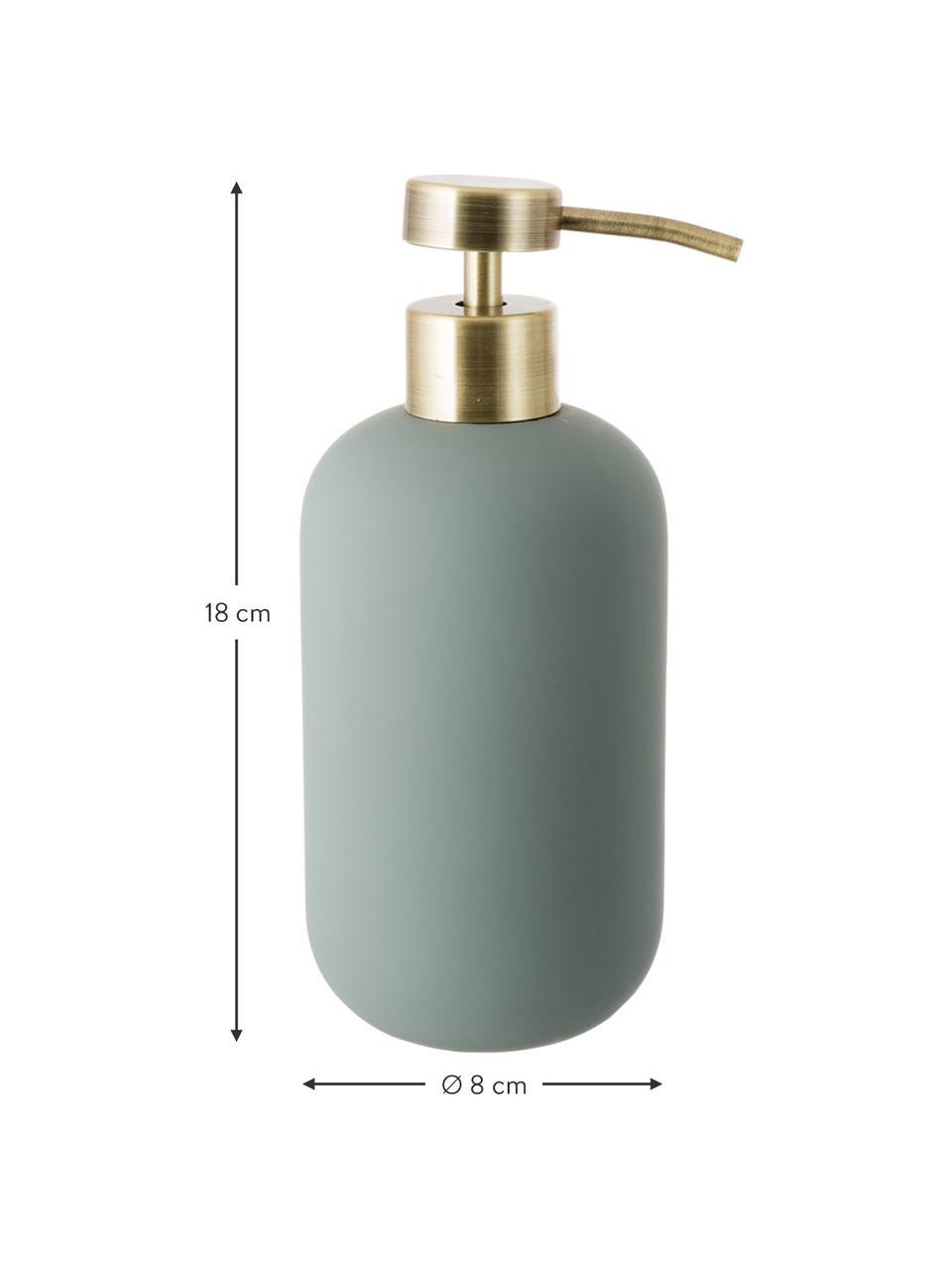 Keramik-Seifenspender Lotus, Behälter: Keramik, Pumpkopf: Metall, Grün, Messingfarben, Ø 8 x H 18 cm