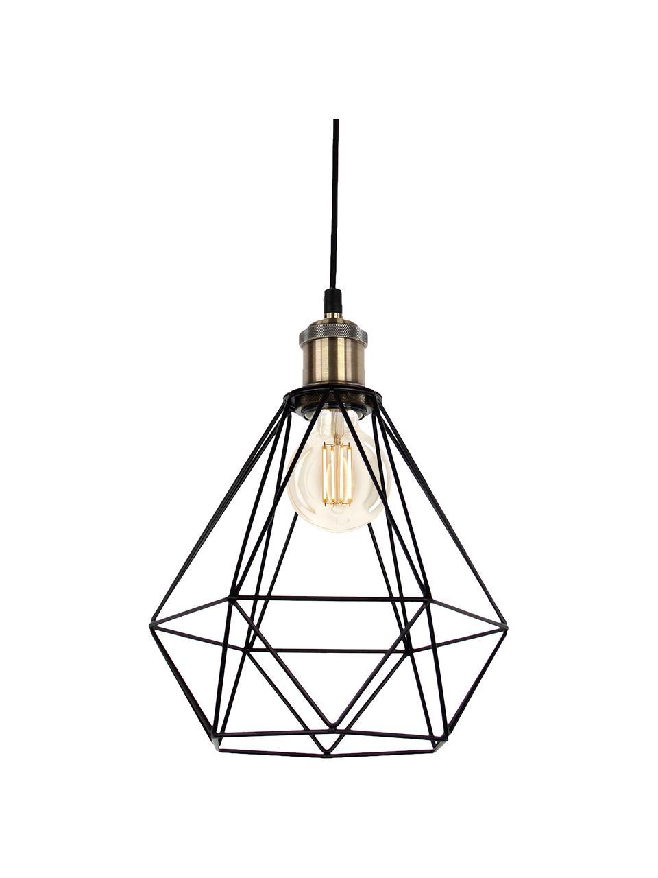 Mała lampa wisząca w stylu industrialnym Agnes, Stelaż: czarny, odcienie mosiądzu Klosz: czarny, Ø 21 x W 22 cm