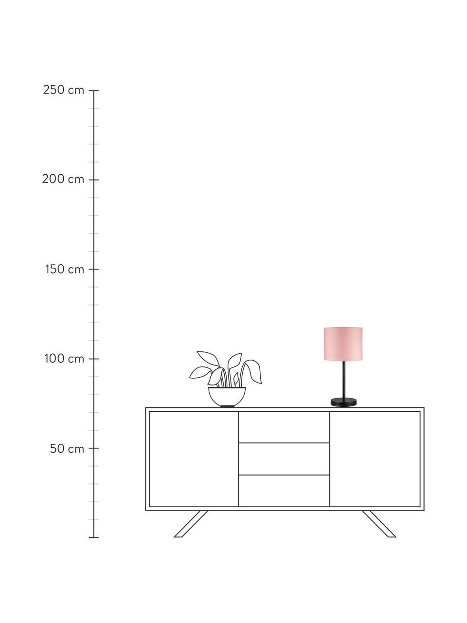 Tischlampe Sweet Reverie in Rosa, Lampenschirm: Stoff, Lampenfuß: Metall, beschichtet, Rosa, Schwarz, Ø 22 x H 45 cm