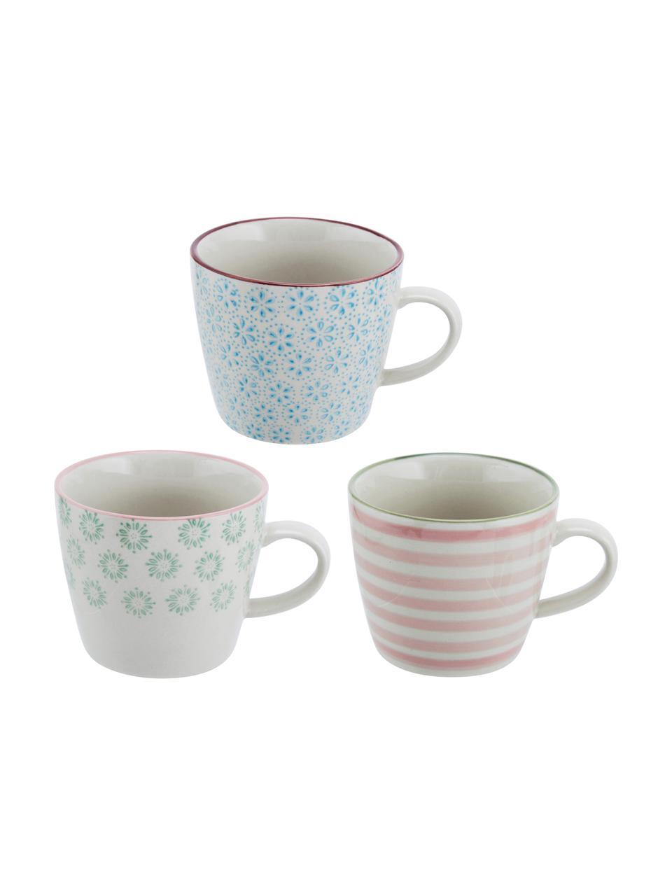 Handbemalte Tassen Patrizia mit verspieltem Muster, 3er-Set, Steingut, Weiß, Grün, Blau, Rot, Ø 10 x H 8 cm