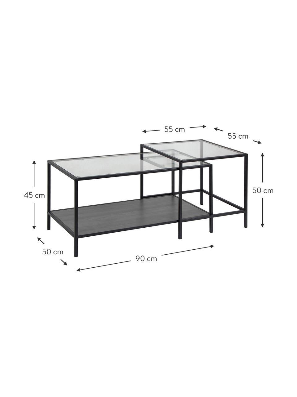 Bijzettafelset Seaford met glazen tafelblad, Frame: metaal, Zwart, transparant, Set met verschillende formaten