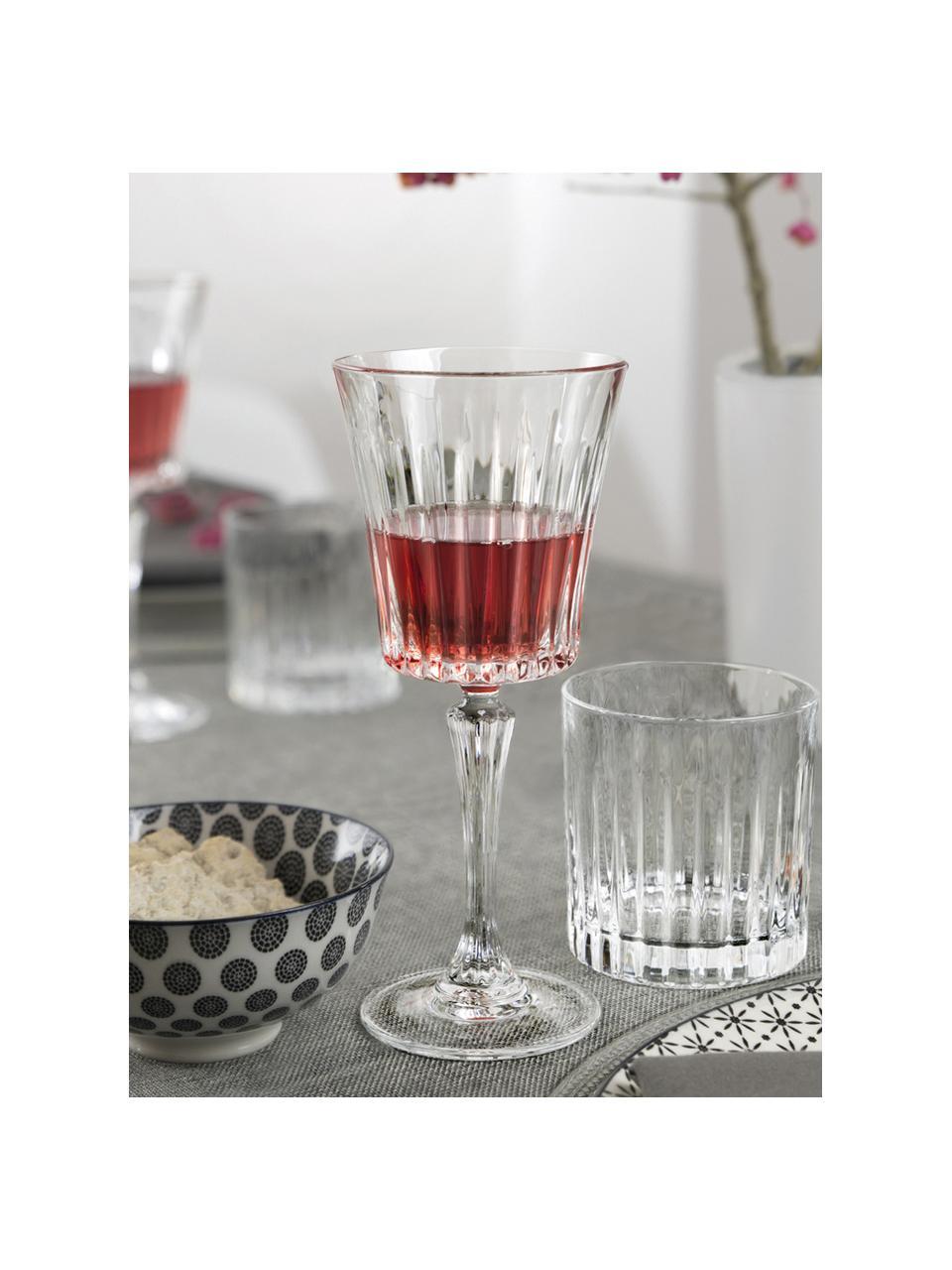 Kristallen rode wijnglazen Timeless met groefreliëf, 6 stuks, Luxion kristalglas, Transparant, Ø 9 x H 21 cm