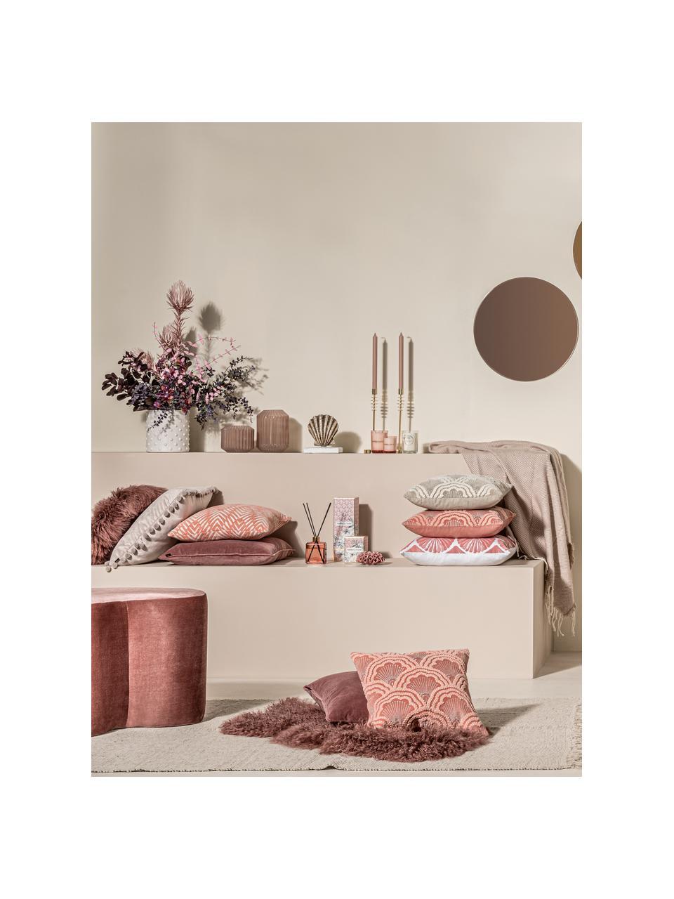 Glänzender Samt-Hocker Cloe, Bezug: Polyester (Samt), glänzen, Rahmen: Kiefernholz, Mitteldichte, Rosa, B 80 x T 50 cm