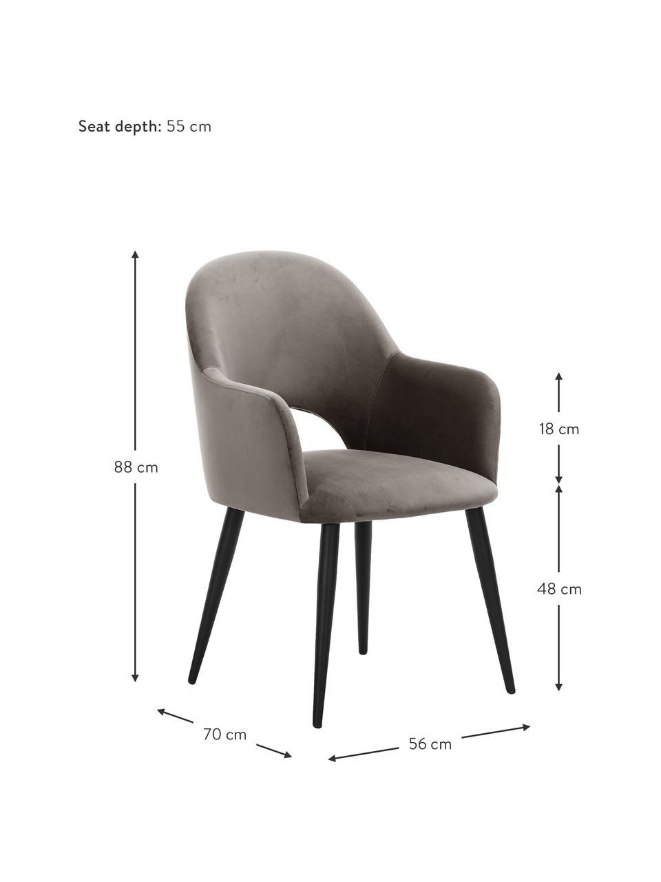 Krzesło z podłokietnikami z aksamitu Rachel, Tapicerka: aksamit (poliester) Dzięk, Nogi: metal malowany proszkowo, Beżowy, S 56 x G 70 cm