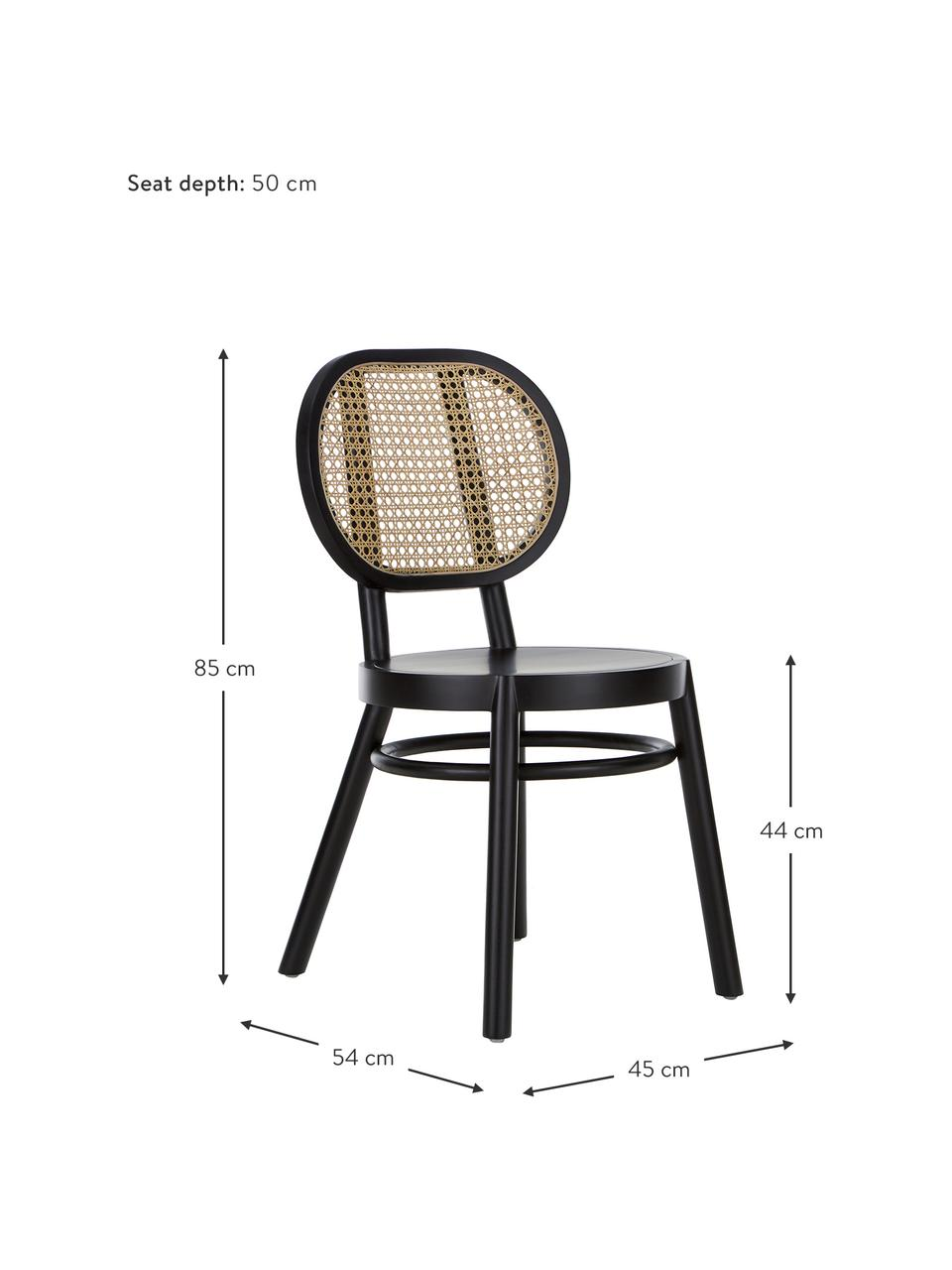 Dřevěná židle s vídeňskou pleteninou Retro, Černá
