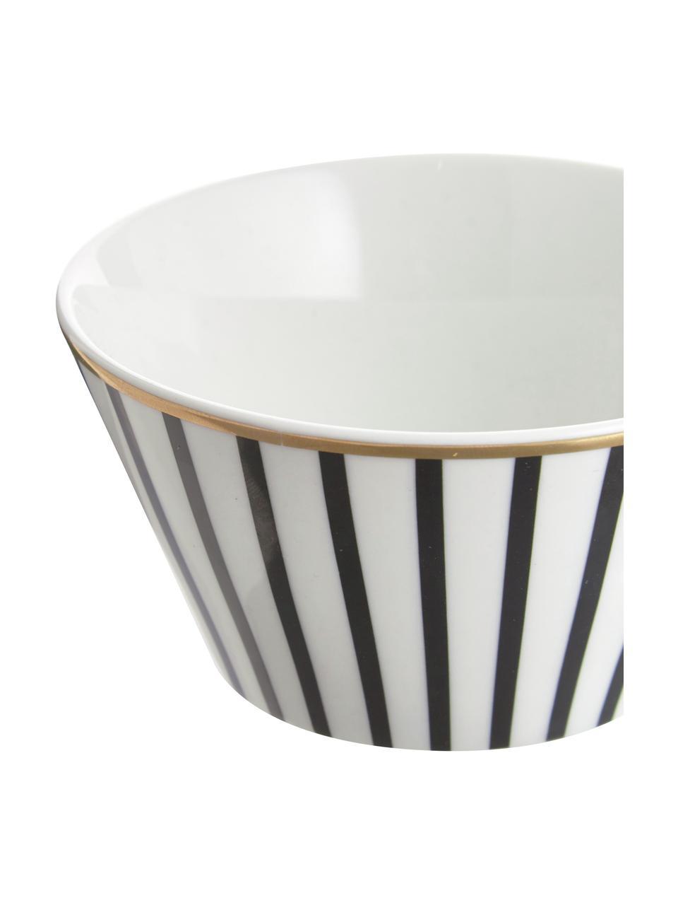 Petit bol design en porcelaine Pluto Loft, 4pièces, Noir, blanc, couleur dorée