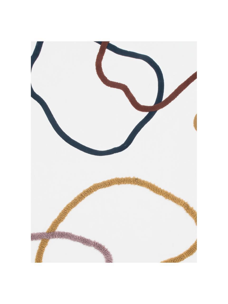Plaid en coton motif abstrait Pablo, Endroit: multicolore Envers: blanc