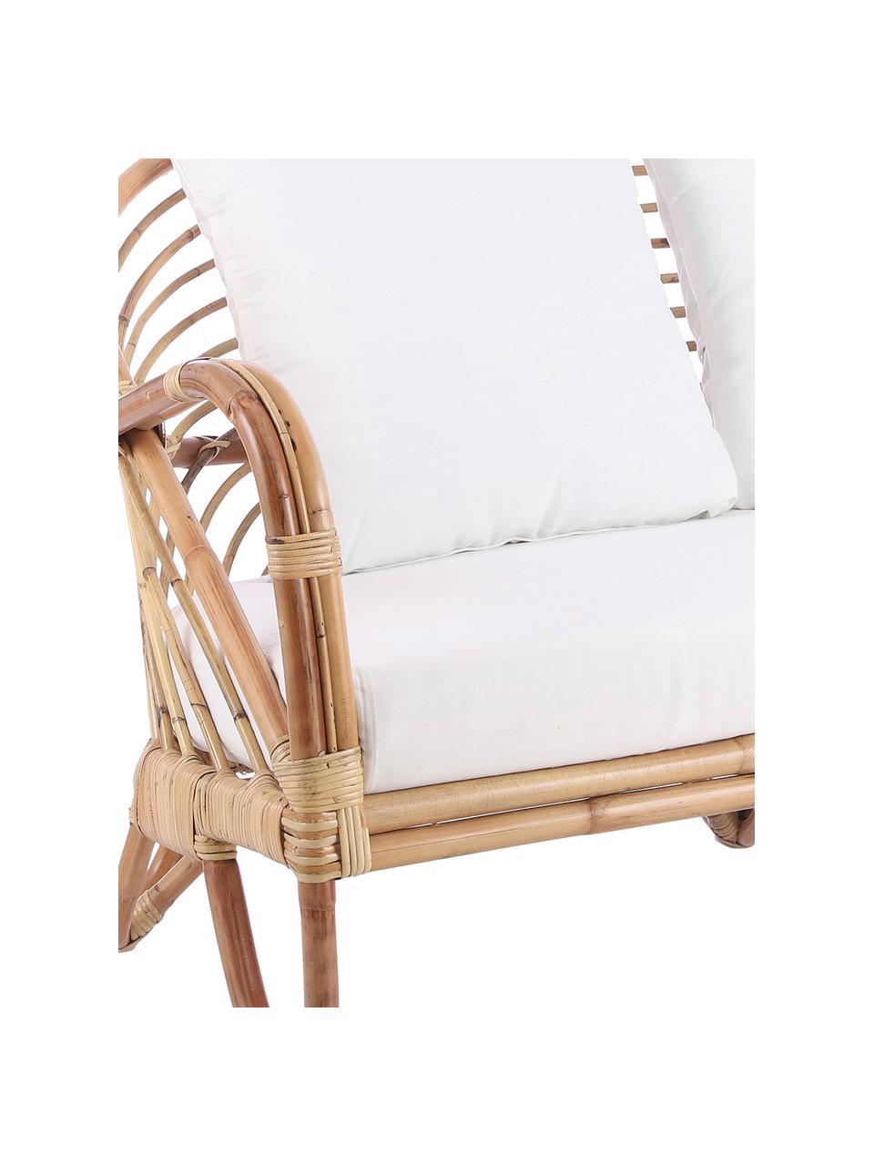 Sofa wypoczynkowa z rattanu Rochester, Stelaż: rattan, Tapicerka: poliester, Rattan, biały, S 140 x G 80 cm