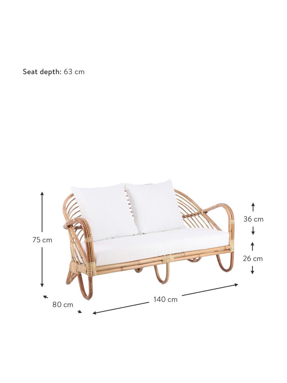 Canapé lounge en rotin Rochester, Rotin, blanc