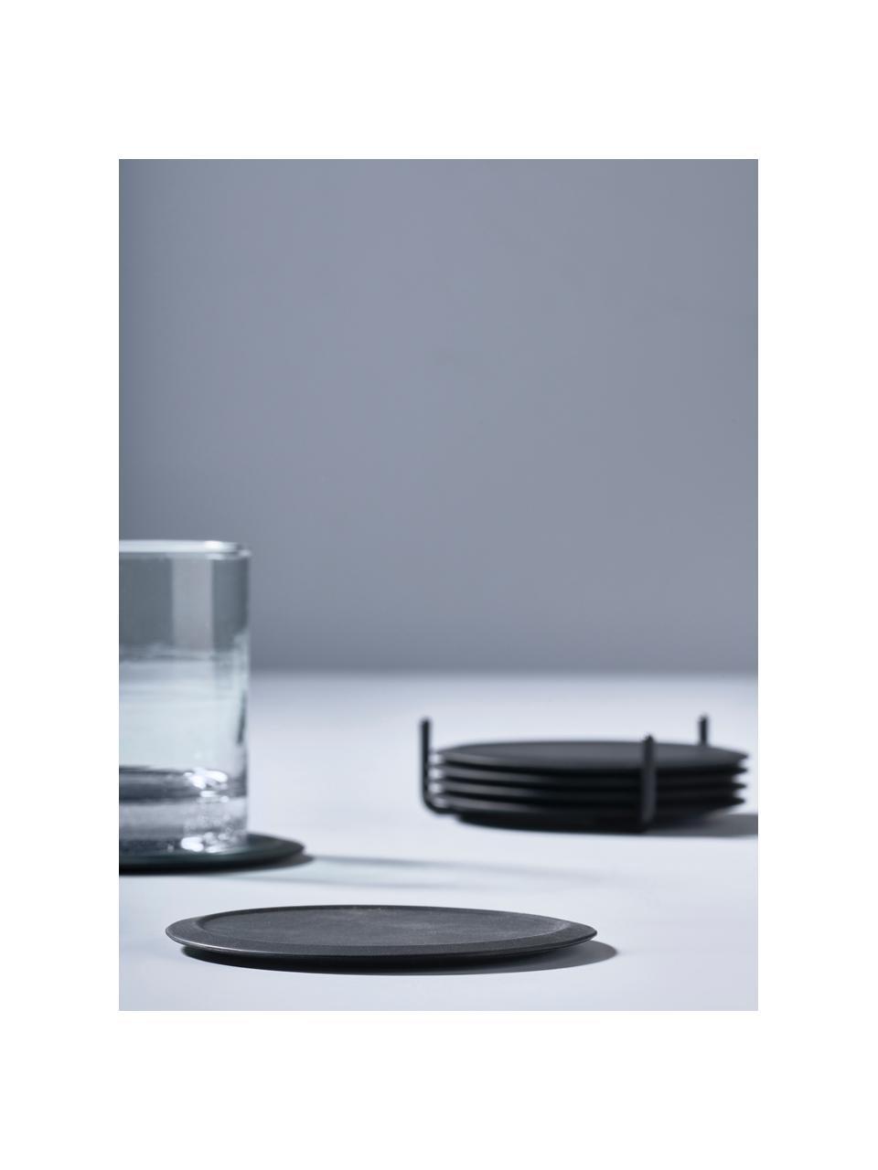 Siliconen onderzetters Plain met houder, 6 stuks, Onderzetter: antislip siliconen, Houder: metaal, Zwart, Ø 10 cm