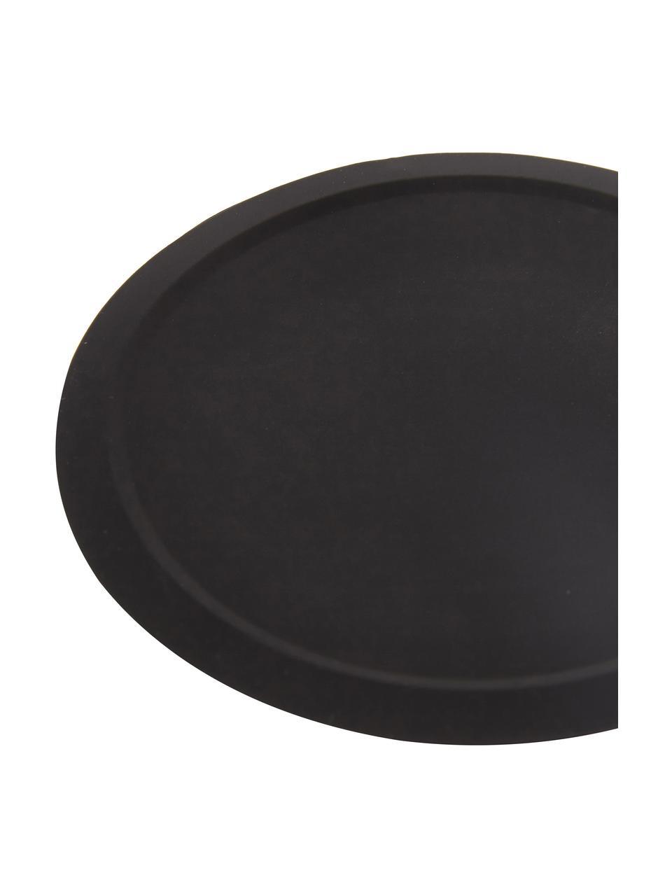 Silikon-Untersetzer Plain mit Halterung, 6 Stück, Untersetzer: Rutschfestes Silikon, Halterung: Metall, Schwarz, Ø 10 cm