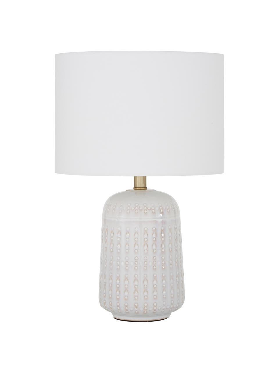 Lampe à poser en céramique blanche Iva, Abat-jour: blanc pied de lampe: blanc crème, laiton