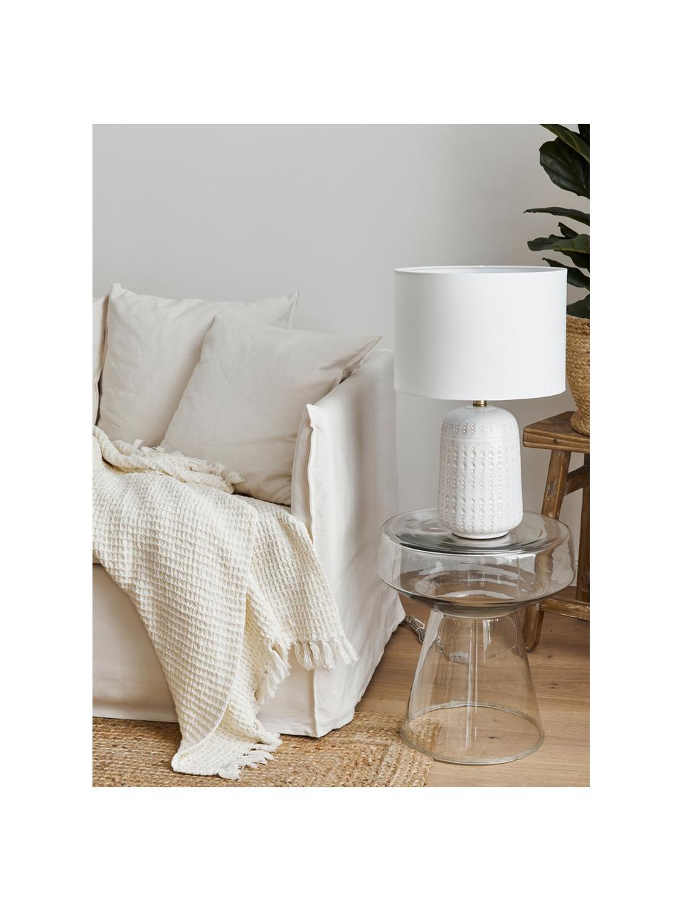 Große Keramik-Tischlampe Iva, Lampenschirm: Textil, Lampenfuß: Keramik, Lampenschirm: WeißLampenfuß: Cremeweiß, Messing, Ø 33 x H 53 cm