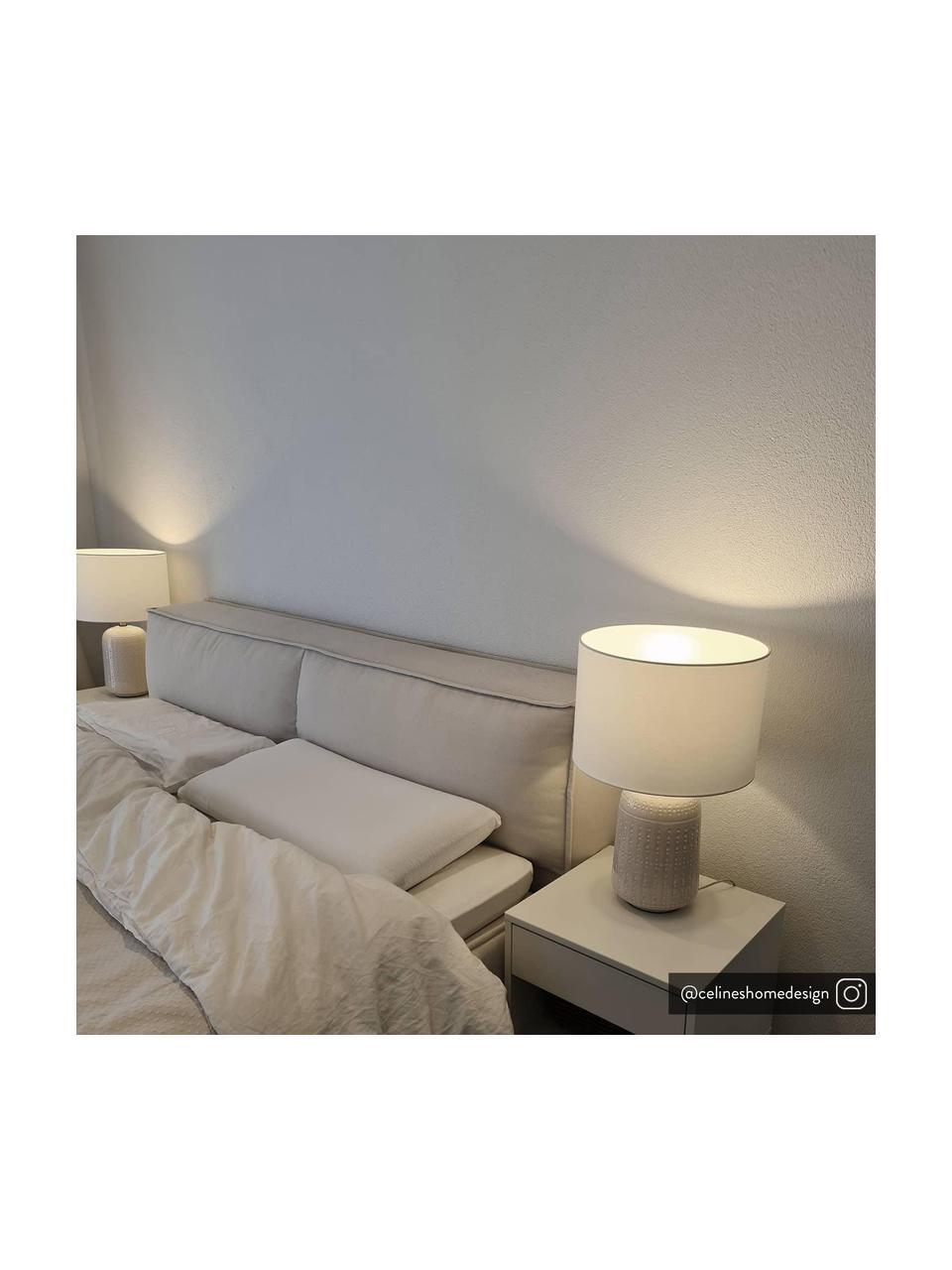 Keramik-Tischlampe Iva, Lampenschirm: Textil, Lampenfuß: Keramik, Lampenschirm: WeißLampenfuß: Cremeweiß, Messing, Ø 33 x H 53 cm