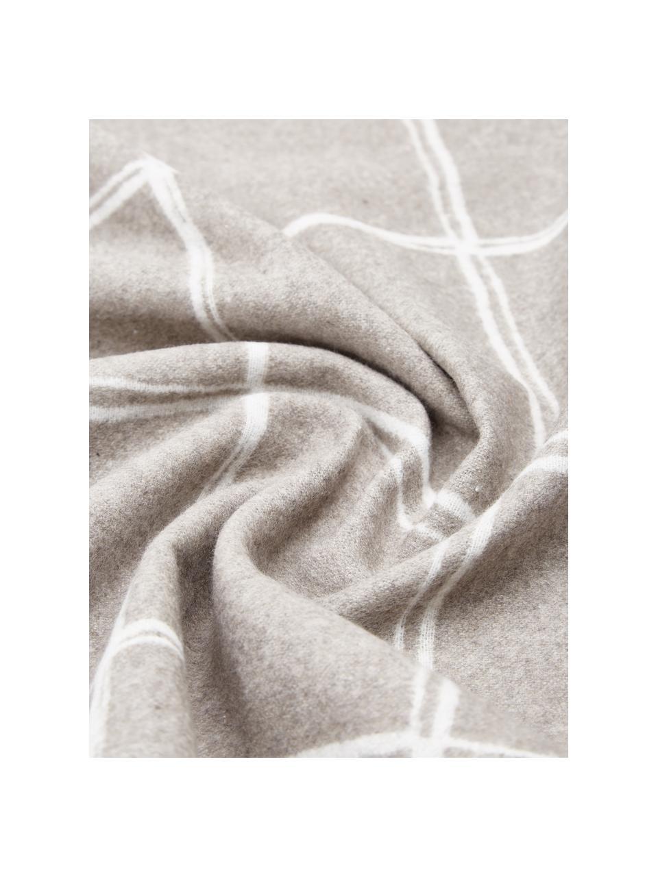 Pled flanelowy Sivretta, 85% bawełna, 8% wiskoza, 7% poliakryl, Brązowy, szary, S 140 x D 200 cm