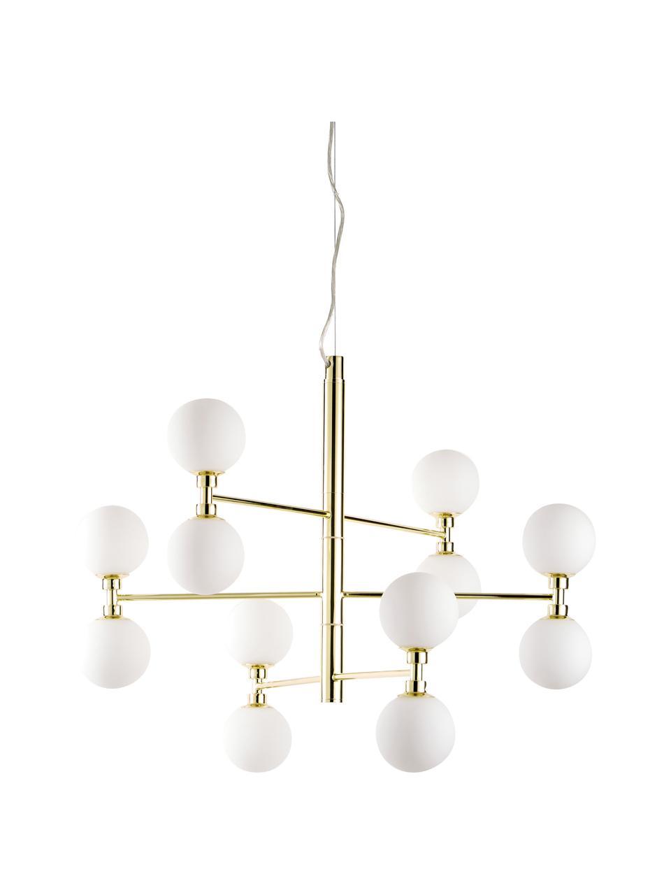 Veľká závesná lampa so sklenenými guľami Grover, Odtiene zlatej