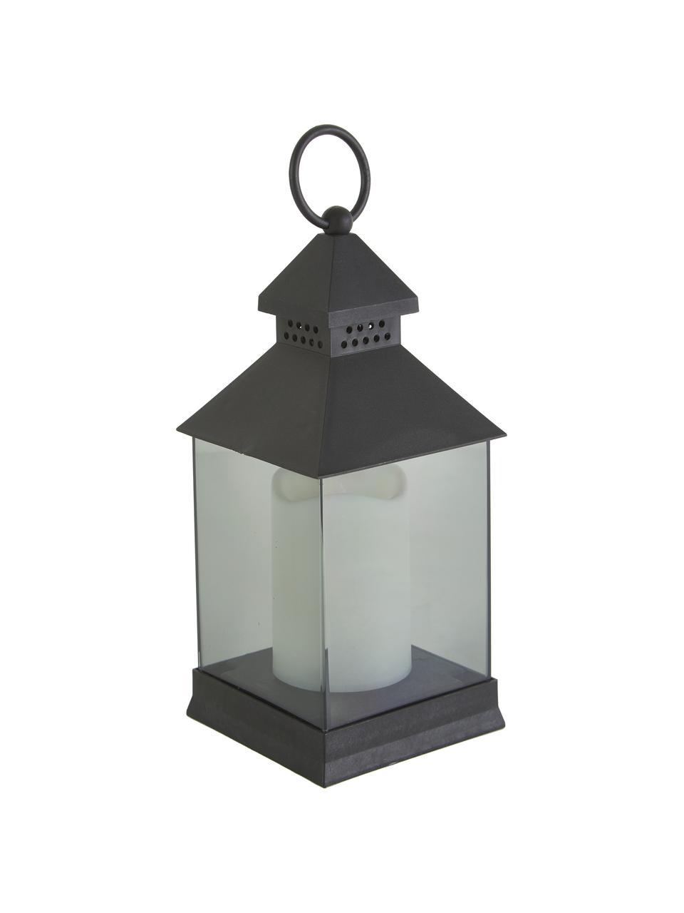Lanterna portatile con candela a LED Flam 6 pz, Struttura: materiale sintetico, Paralume: acrilico, Nero, Larg. 10 x Alt. 25 cm