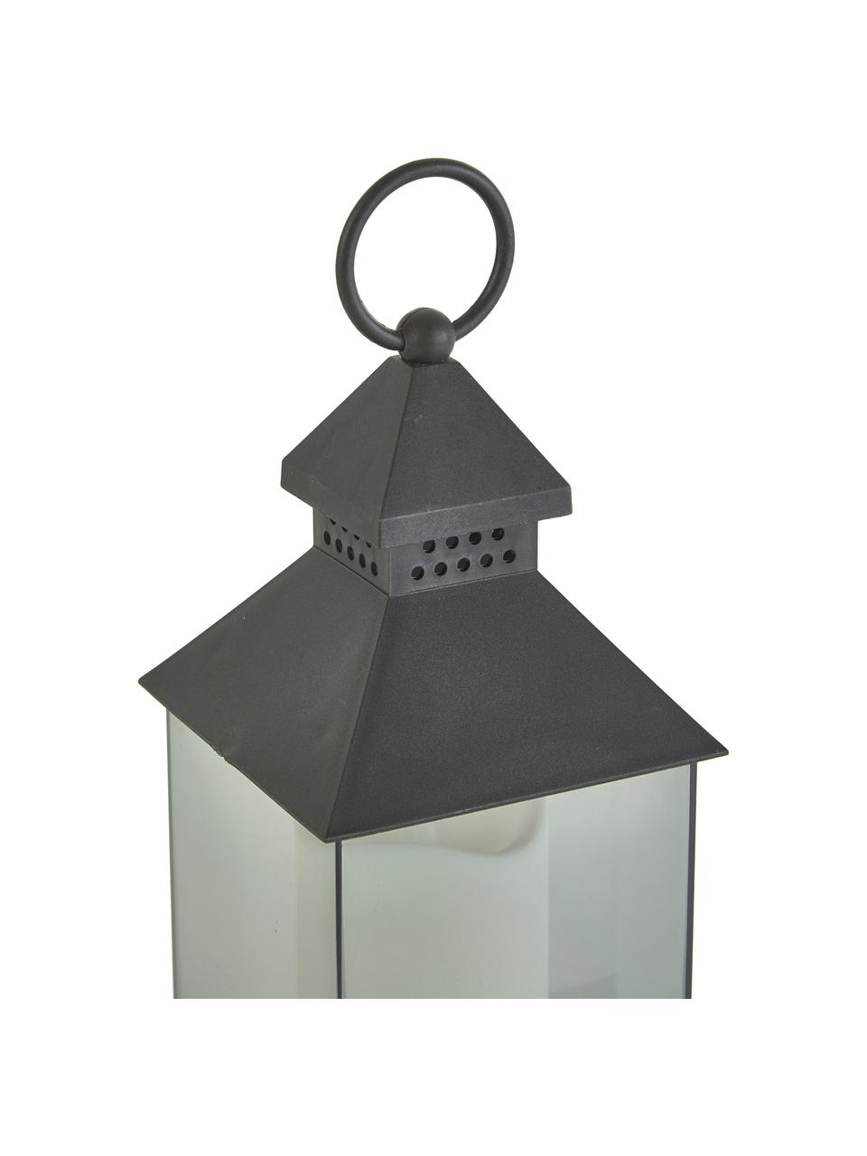 Mobile Laterne Flame mit LED-Kerzen, 6 Stück, Lampenschirm: Acryl, Schwarz, 10 x 25 cm