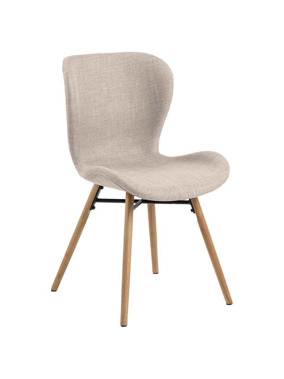 Gestoffeerde stoelen Batilda in zandkleur, 2 stuks, Bekleding: polyester, Poten: Eikenhout, massief, gelak, Geweven stof zandkleurig, eikenhout, B 47 x D 53 cm
