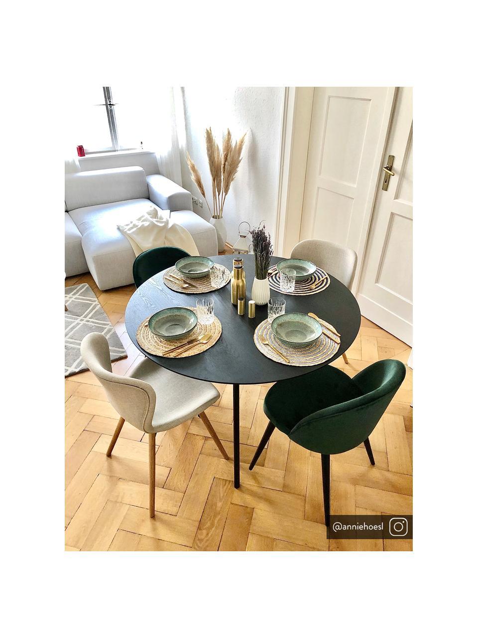 Chaise rembourrée scandinave beige Batilda, 2pièces, Tissu couleur sable, bois de chêne